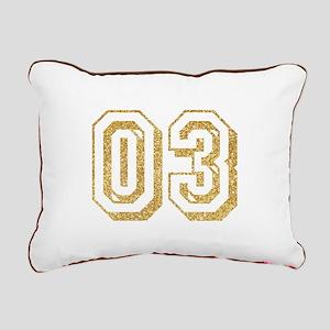 Glitter Number 3 Sports Rectangular Canvas Pillow