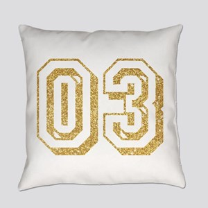 Glitter Number 3 Sports Jersey Everyday Pillow