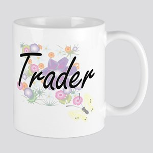 Trader Artistic Job Design with Flowers Mugs