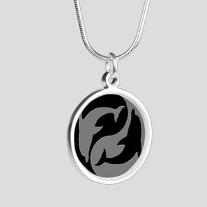 Grey And Black Yin Yang Dolphins Necklaces