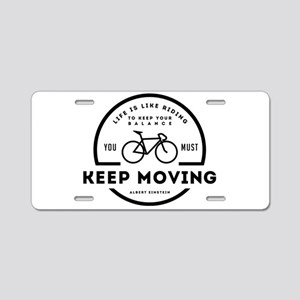 VINTAGE KEEP MOVING Aluminum License Plate