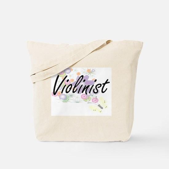 Violinist Artistic Job Design with Flower Tote Bag