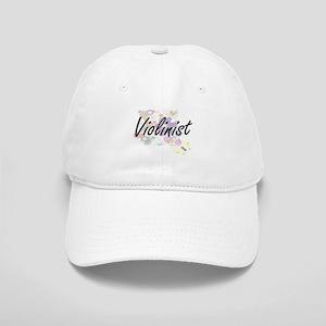 Violinist Artistic Job Design with Flowers Cap