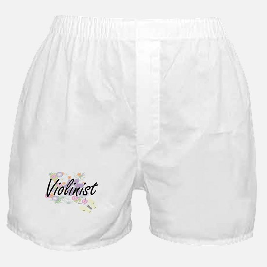 Violinist Artistic Job Design with Fl Boxer Shorts