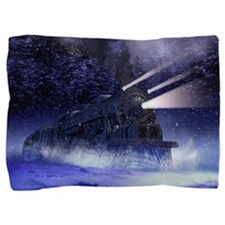 Snowy Night Train Pillow Sham