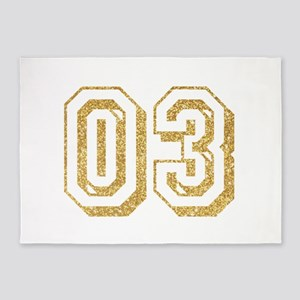 Glitter Number 3 Sports Jersey 5'x7'Area Rug