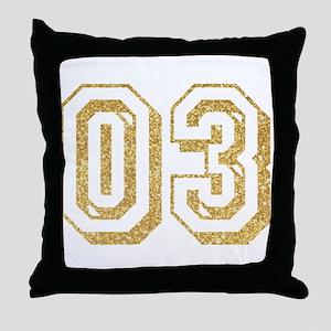 Glitter Number 3 Sports Jersey Throw Pillow