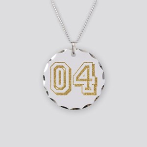Glitter Number 4 Sports Jers Necklace Circle Charm