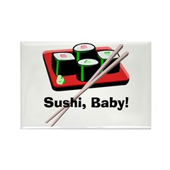California Roll Sushi Rectangle Magnet