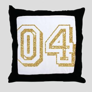 Glitter Number 4 Sports Jersey Throw Pillow