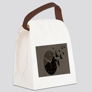 Brown Butterfly Clock Canvas Lunch Bag