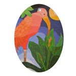 Pink Ibis Oval Ornament