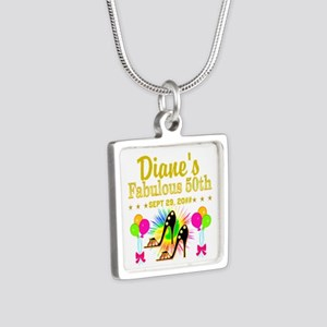 50TH BIRTHDAY Silver Square Necklace