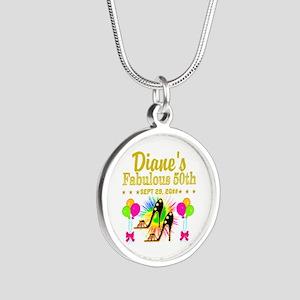 50TH BIRTHDAY Silver Round Necklace
