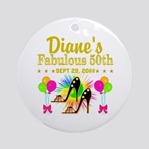 50TH BIRTHDAY Round Ornament