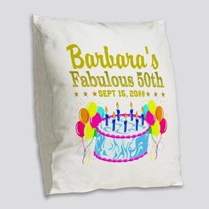 50TH BIRTHDAY Burlap Throw Pillow