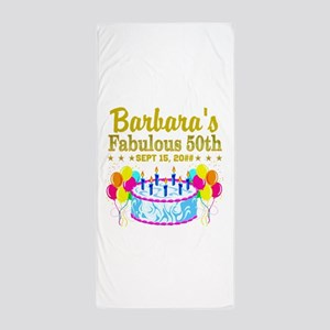 50TH BIRTHDAY Beach Towel