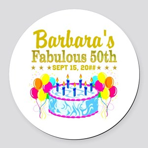 50TH BIRTHDAY Round Car Magnet