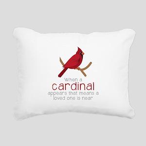 When Cardinal Appears Rectangular Canvas Pillow