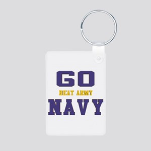 Go Navy, Beat Army! Aluminum Photo Keychain