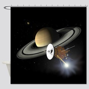 Saturn and the Cassini Probe Shower Curtain