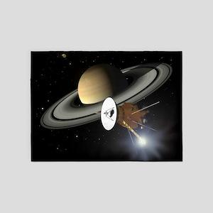 Saturn and the Cassini Probe 5'x7'Area Rug