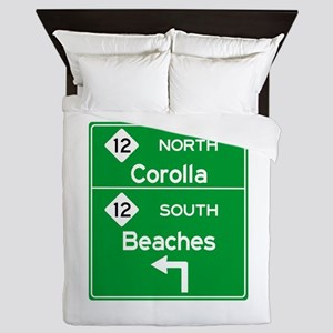 Outer Banks Route 12 Sign Queen Duvet