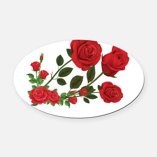 Roses Oval Car Magnet