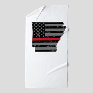 Arkansas Firefighter Thin Red Line Beach Towel