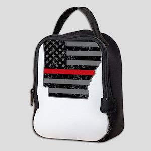 Arkansas Firefighter Thin Red L Neoprene Lunch Bag
