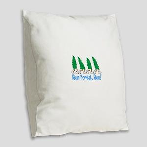 Run Forest Run Burlap Throw Pillow