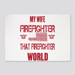 Firefighter Wife World 5'x7'Area Rug
