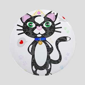 Princess Tuxedo Cat Round Ornament