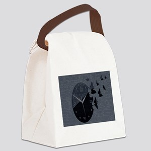Blue-Black Butterfly Clock. Canvas Lunch Bag