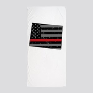 Colorado Firefighter Thin Red Line Beach Towel