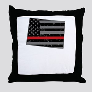 Colorado Firefighter Thin Red Line Throw Pillow