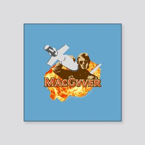 """MacGyver In Action Square Sticker 3"""" x 3"""""""