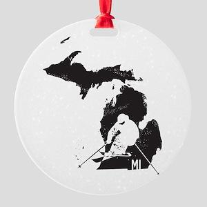 Ski Michigan Round Ornament