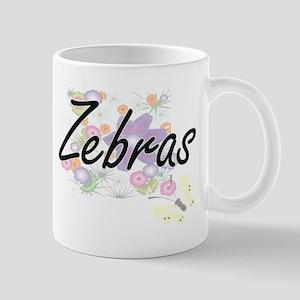 Zebras artistic design with flowers Mugs