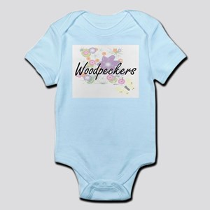 Woodpeckers artistic design with flowers Body Suit