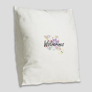 Wolverines artistic design wit Burlap Throw Pillow