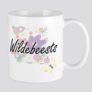 Wildebeests artistic design with flowers Mugs