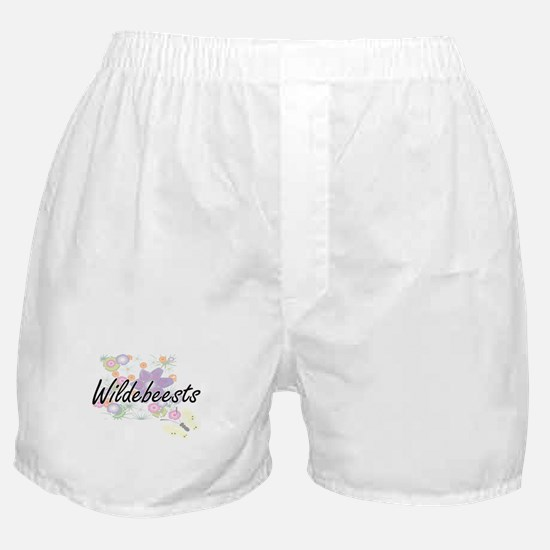 Wildebeests artistic design with flow Boxer Shorts