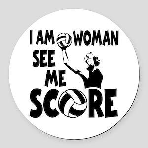I AM WOMAN Round Car Magnet