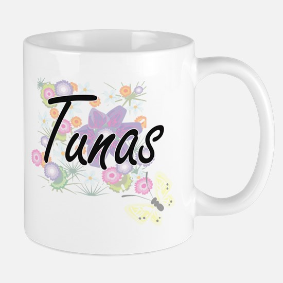 Tunas artistic design with flowers Mugs