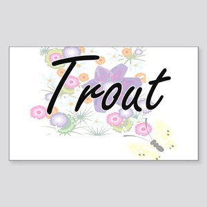 Trout artistic design with flowers Sticker