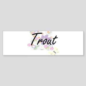 Trout artistic design with flowers Bumper Sticker