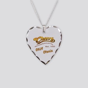 Cliff Clavin and Cheers Logo Necklace Heart Charm