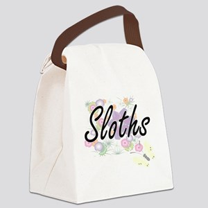 Sloths artistic design with flowe Canvas Lunch Bag