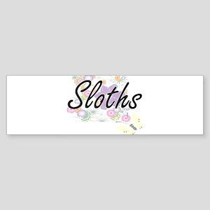 Sloths artistic design with flowers Bumper Sticker